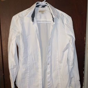 White Burberry Button Down Shirt